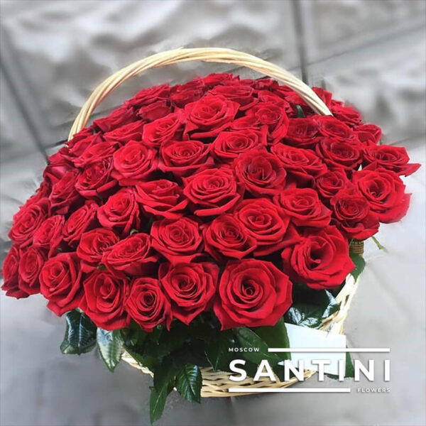"<span style=""color: red; font-weight:900;"">ХИТ</span> - 51 роза в корзине Red Naomi"