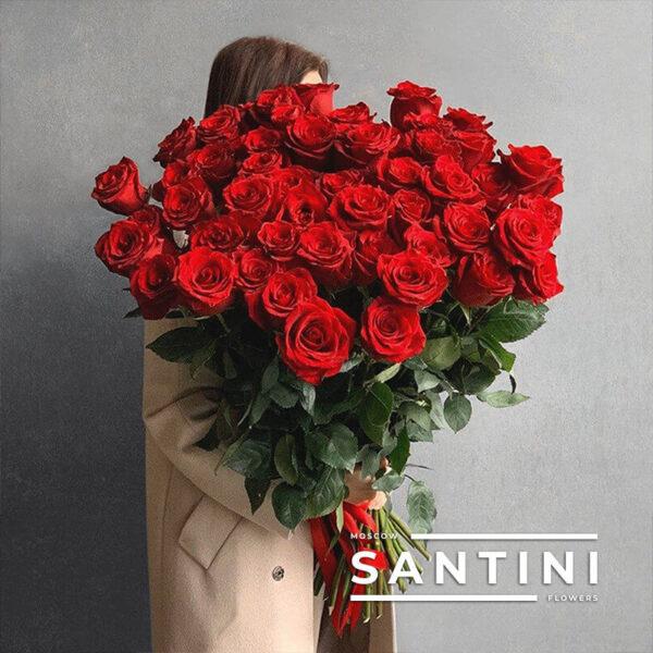 "<span style=""color: #ff0000;"">ХИТ</span> - 51 красная роза Red Naomi 70 см"