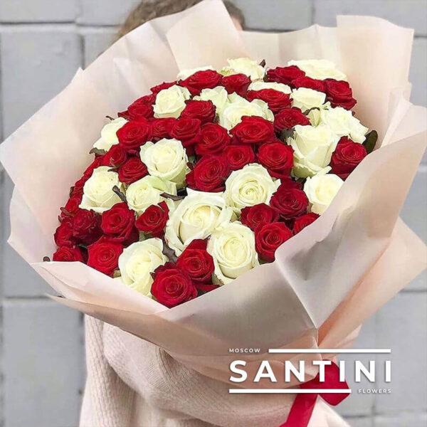 51 красно-белая роза 80 см