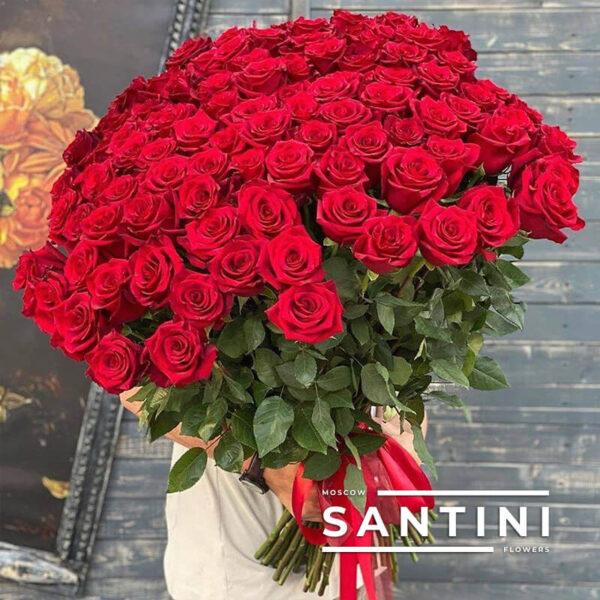 "<span style=""color: #ff0000;"">ХИТ</span> - 101 красная роза Red Naomi 80 см"