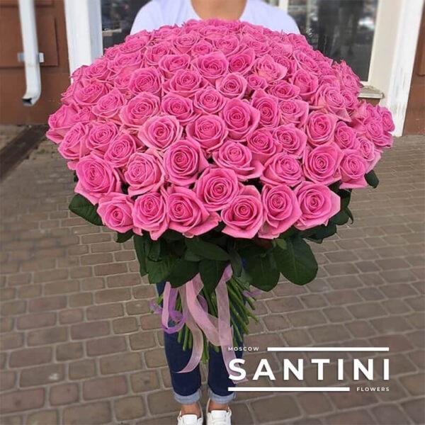 101 розовая роза Aqua 80 см