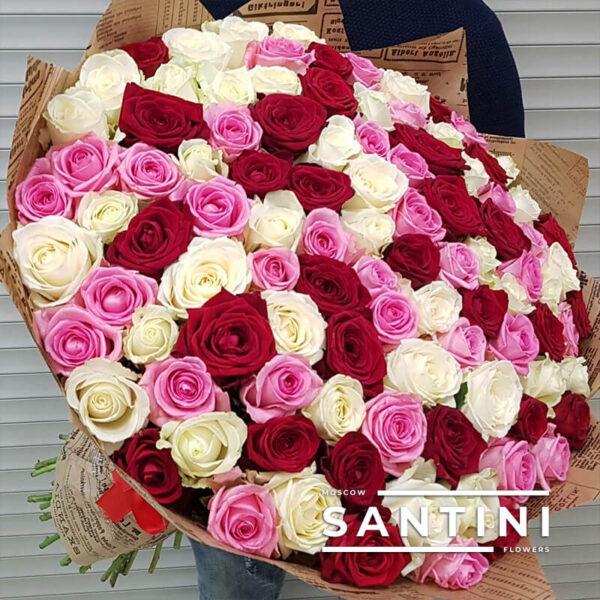 101 роза MIX 80 см