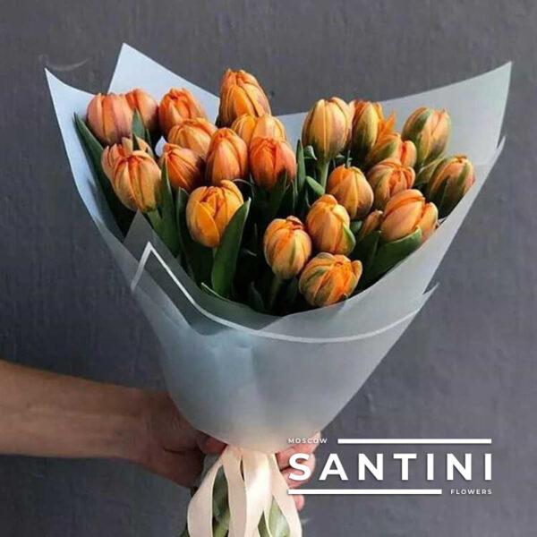 25 пионовидных тюльпанов Orange
