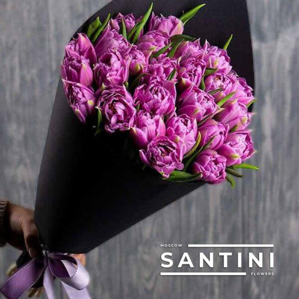 25 фиолетовых пионовидных тюльпанов