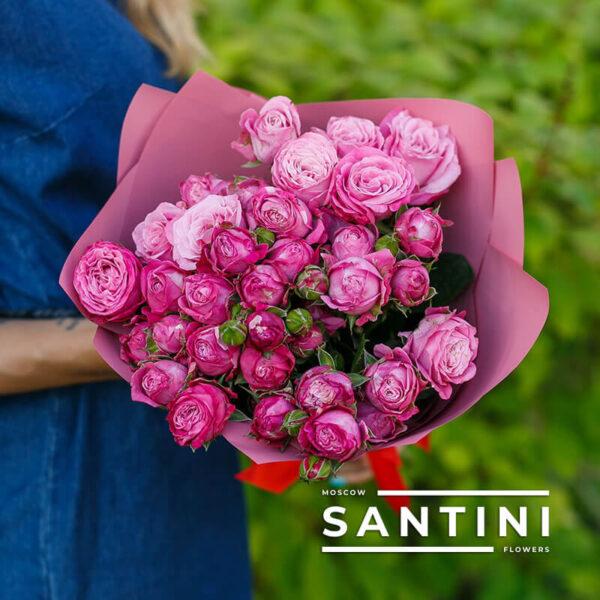 Букет из пионовидных кустовых роз Bombastic Pink