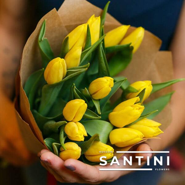 "15 желтых тюльпанов ""Уellow-Сharm"""