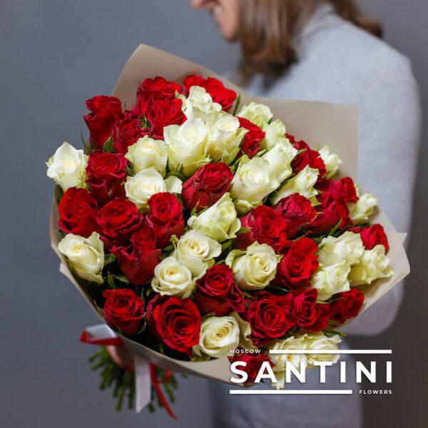 51 красно-белая кенийская роза MIX