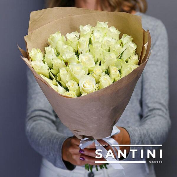 Букет из 35 белых кенийских роз White