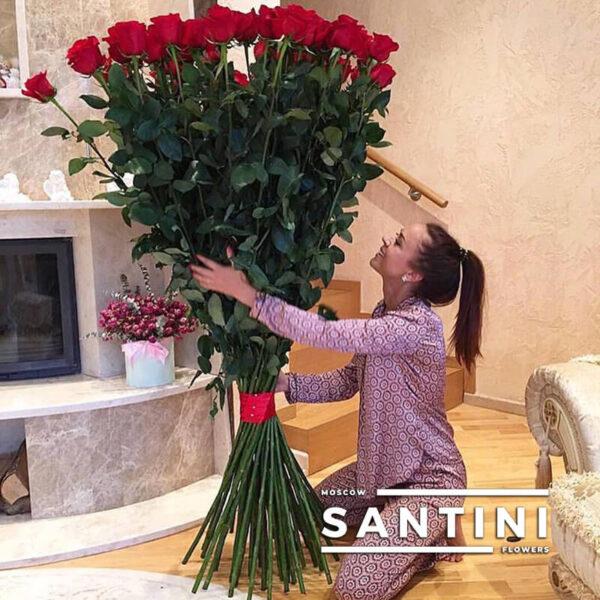 Букет из 25 высоких роз - метровые розы