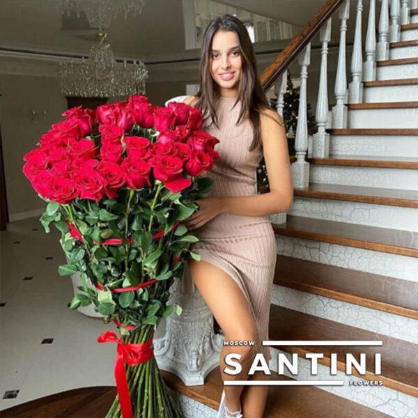 Букет из 35 высоких роз - метровые розы