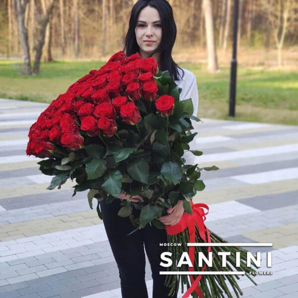 Букет из 101 высокой розы - метровые розы