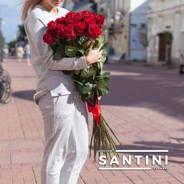 Букет из 15 высоких роз - метровые розы