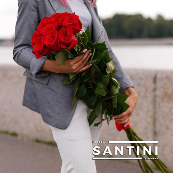 Букет из 9 высоких роз - метровые розы